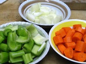 onion, celery, carrot